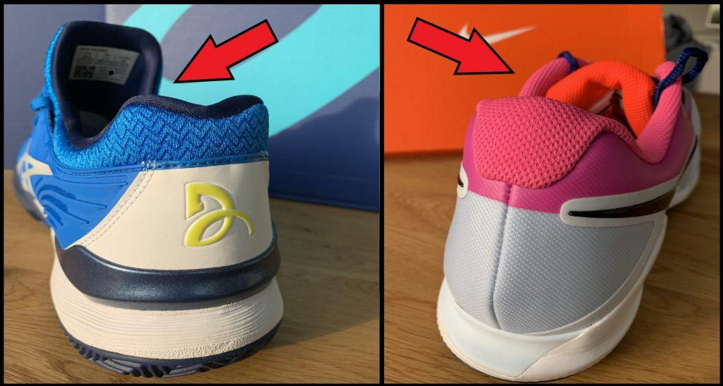 Hier der Vergleich zwischen Bootie oder Socks Konstruktion gegenüber dem typischen Tennisschuh mit Zunge.